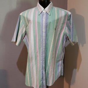 Ralph Lauren short sleeve pastel striped shirt